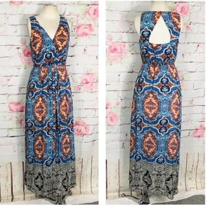 Anthropologie Dresses - Maeve sleeveless silk bohemian print maxi dress